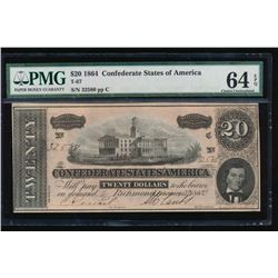 1864 $20 Confederate States of America Note PMG 64EPQ