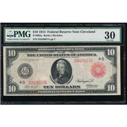 1914 $10 Cleveland Red Seal Federal Reserve Note PMG 30