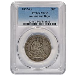 1853-O Liberty Seated Half Dollar Arrows and Rays PCGS VF35