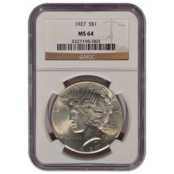 1927 $1 Peace Silver Dollar Coin NGC MS64