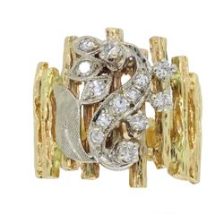 14KT Two Tone Gold 0.24ctw Diamond Ring