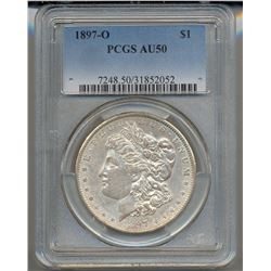 1897-O $1 Morgan Silver Dollar Coin PCGS AU50