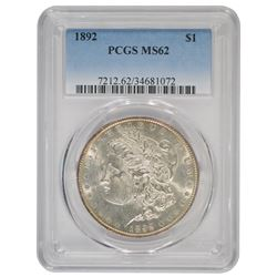 1892 $1 Morgan Silver Dollar Coin PCGS MS62