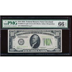 1934 $10 Cleveland Federal Reserve Note PMG 66EPQ