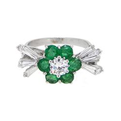 18KT White Gold 1.56ctw Diamond and Emerald Ring