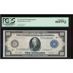 1914 $10 Minneapolis Federal Reserve Note PCGS 66PPQ