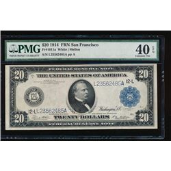 1914 $20 San Francisco Federal Reserve Note PMG 40EPQ