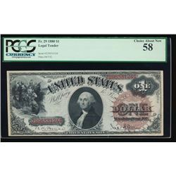 1880 $1 Legal Tender Note PCGS 58