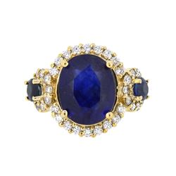 14KT Yellow Gold 9.47ct Blue Sapphire and Diamond Ring