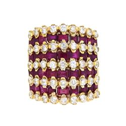 14KT Yellow Gold 4.27ctw Ruby and Diamond Ring