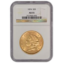 1874 $20 Liberty Head Double Eagle Gold Coin NGC AU55