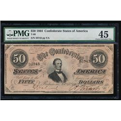 1864 $50 Confederate States of America Note PMG 45