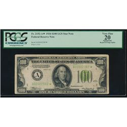 1934 $100 Boston Federal Reserve Star Note PCGS 20
