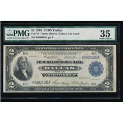 1918 $2 Dallas Federal Reserve Bank Note PMG 35
