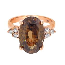 14KT White Gold 12.06ct Brown Zircon and Diamond Ring