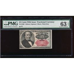 25 Cent Fifth Issue Fractional Note PMG 63EPQ