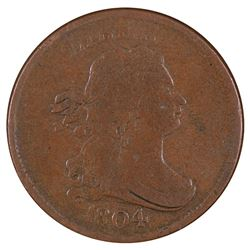 1804 Draped Bust Crosslet 4 Stemless Half Cent Coin