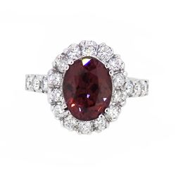 18KT White Gold 3.27ct GIA Cert Color Changing Garnet and Diamond Ring