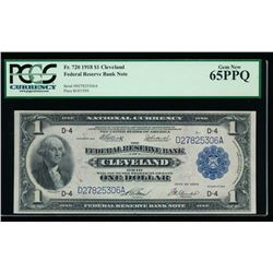 1918 $1 Cleveland Federal Reserve Bank Note PCGS 65PPQ