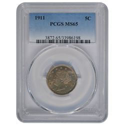 1911 Liberty Nickel Coin PCGS MS65