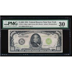 1934 $1000 New York Federal Reserve Note PMG 30