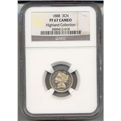 1888 Three Cent Coin NGC PF67 Cameo