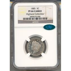 1885 V Cent Coin NGC PF66 Cameo CAC