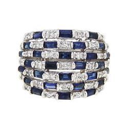 14KT White Gold 2.23ctw Blue Sapphire and Diamond Ring