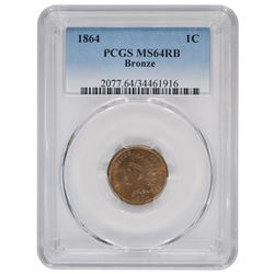1864 Bronze One cent Coin PCGS MS64RB