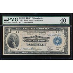 1918 $1 Philadelphia Federal Reserve Bank Note PMG 40