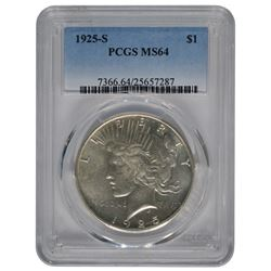 1925-S $1 Peace Silver Dollar Coin PCGS MS64