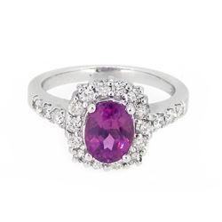 18KT White Gold 1.62ct GIA Cert Pink Sapphire and Diamond Ring