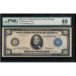 1914 $20 Chicago Federal Reserve Note PMG 40