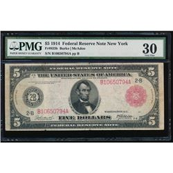 1914 $5 Red Seal Federal Reserve Note PMG 30