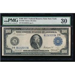 1914 $100 New York Federal Reserve Note PMG 30
