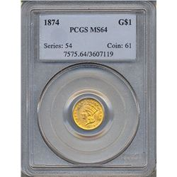 1874 $1 Gold Coin PCGS MS64