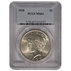 1935 $1 Peace Silver Dollar Coin PCGS MS64
