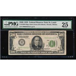 1928 $500 St. Louis Federal Reserve Note PMG 25