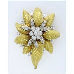 18KT Two Tone Gold 1.03ctw Diamond Brooch