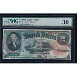 1869 $2 Legal Tender Note PMG 30