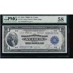1918 $1 St Louis Federal Reserve Bank Note PMG 58