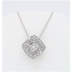 18KT White Gold 0.60ctw Diamond Pendant with Chain