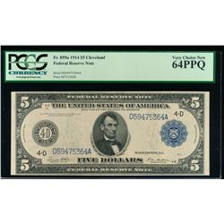 1914 $5 Large Cleveland Federal Reserve Note PCGS 64PPQ