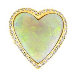 14KT Yellow Gold 9.00ct Heart Shaped Opal and Diamond Ring