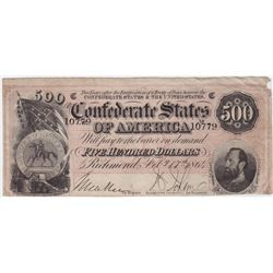 1864 $500 Confederate States of America Note