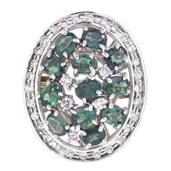18KT White Gold 2.51ctw Alexandrite and Diamond Ring