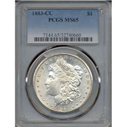 1883-CC $1 Morgan Silver Dollar Coin PCGS MS65