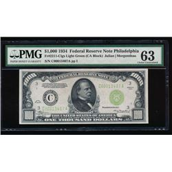 1934 $1000 Philadelphia Federal Reserve Note PMG 63