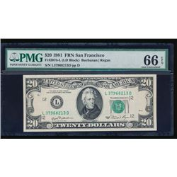 1981 $20 San Francisco Federal Reserve Note PMG 66EPQ
