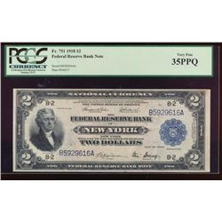 1918 $2 New York Federal Reserve Bank Note PCGS 35PPQ